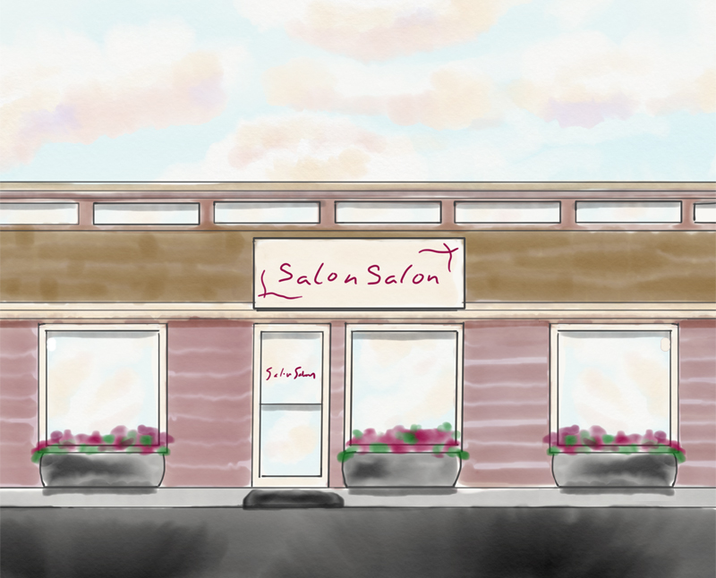 Watercolor rendering of Salon Salon in Tumwater, Washington - exterior view
